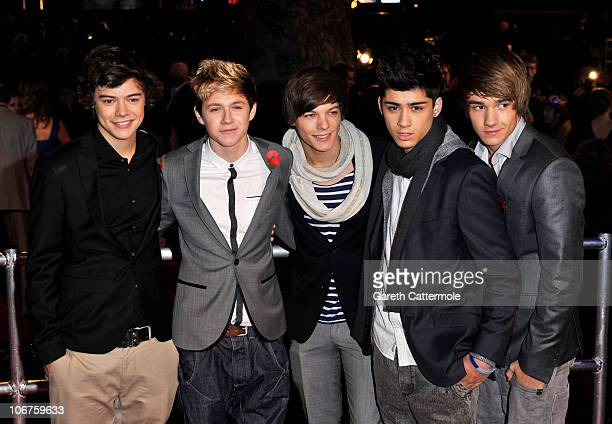 Factor band One Direction attend the Harry Potter And The Deathly Hallows: Part 1 World film premiere at Odeon Leicester Square on November 11, 2010...