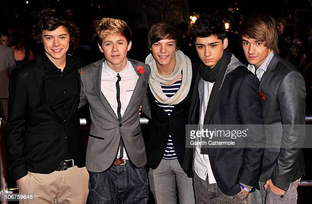 Factor band One Direction attend the Harry Potter And The Deathly Hallows Part 1 World film premiere at Odeon Leicester Square on November 11 2010 in...