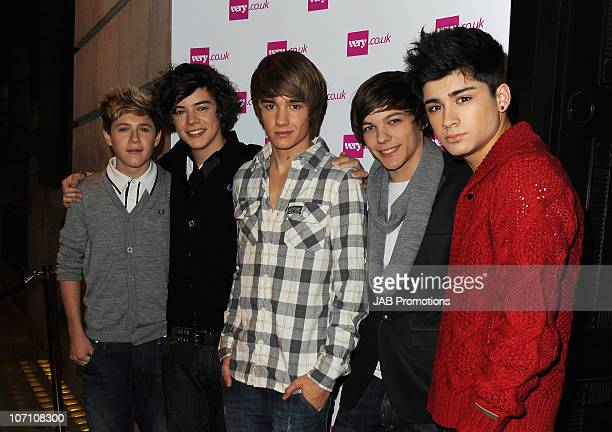 Factor finalists One Direction Niall Horran Harry Styles Liam Payne Louis Tomlinson and Zain Malik attend the Verycouk Christmas Catwalk Show held at...