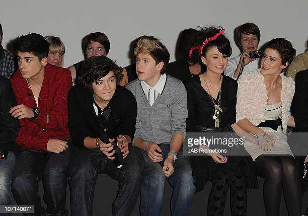 XFactor finalists Zain Malik Harry Styles and Niall Horran from One Direction Cher Lloyd and Katie Waissel during the Verycouk Christmas Catwalk Show...