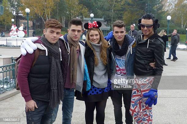'XFactor' UK contestants Jaymi Hensley Jamie Hamblett Ella Henderson Josh Cuthbert and Rylan Clark are seen at Disneyland Paris on November 13 2012...