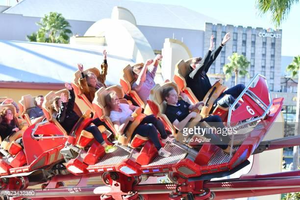 Xfinity Series Champion Tyler Reddick rides the Hollywood Rip Ride Rockit in Universal Studios at Universal Orlando Resort on November 27 2018 in...