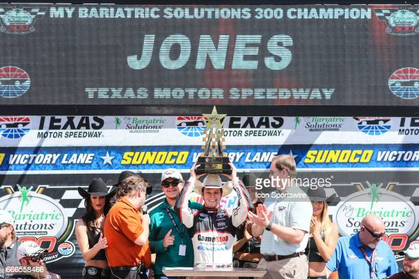 Xfinity Series driver Erik Jones celebrates winning the NASCAR Xfinity Series Bariatric Solutions 300 on April 08 2017 at the Texas Motor Speedway in...
