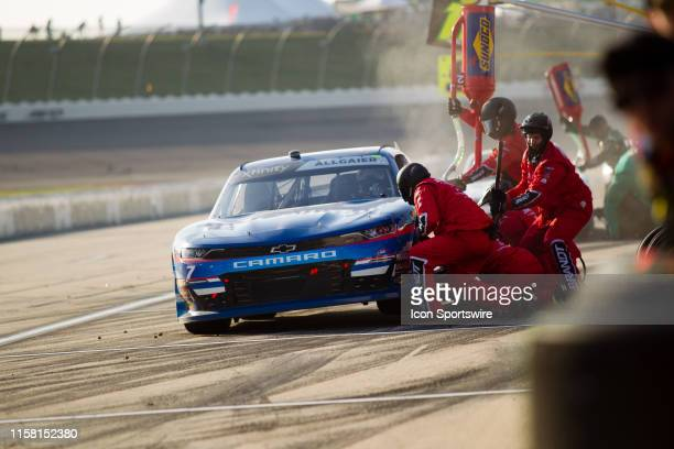 Xfinity Series driver Justin Allgaier comes in for a pit stop during the NASCAR Xfinity Series US Cellular 250 on July 27 at Iowa Speedway in Newton,...