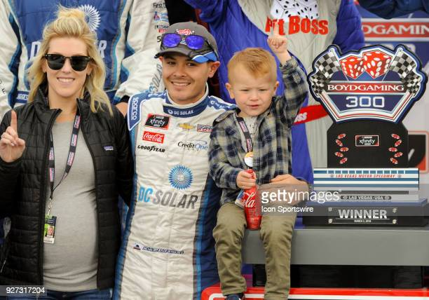 Xfinity Series driver Kyle Larson with his wife Katelyn Sweet and son Carson celebrate after the Xfinity Series Boyd Gaming 300 race on March 2 2018...