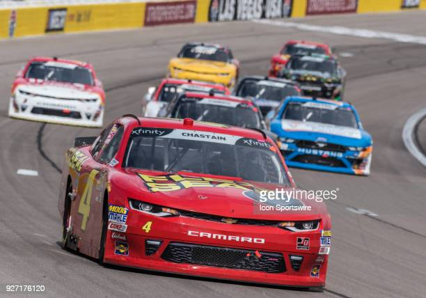 Xfinity Series driver Ross Chastain takes turn one during the Boyd Gaming 300 NASCAR Xfinity Series on March 3 2018 at Las Vegas Motor Speedway in...