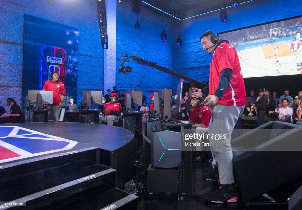 xGREATxGILLY13 and Demon JT of Wizards District Gaming reacts during the game against the Knicks Gaming during Week 12 of the NBA 2K League on August 10, 2018 at the NBA 2K Studio in Long Island City, New York.