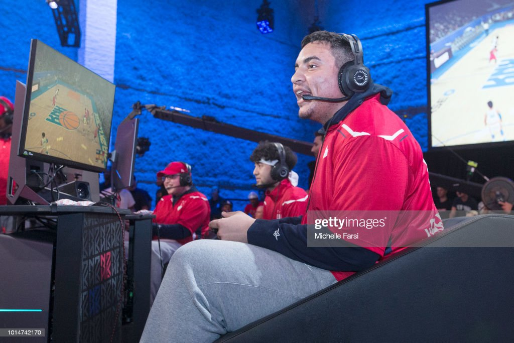 xGREATxGILLY13 of Wizards District Gaming reacts during the game against Knicks Gaming during Week 12 of the NBA 2K League on August 10, 2018 at the NBA 2K Studio in Long Island City, New York.