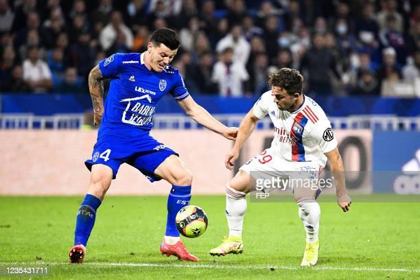 Xherdan SHAQIRI - 04 Giulian BIANCONE during the Ligue 1 Uber Eats match between Lyon and Troyes at Groupama Stadium on September 22, 2021 in Lyon,...