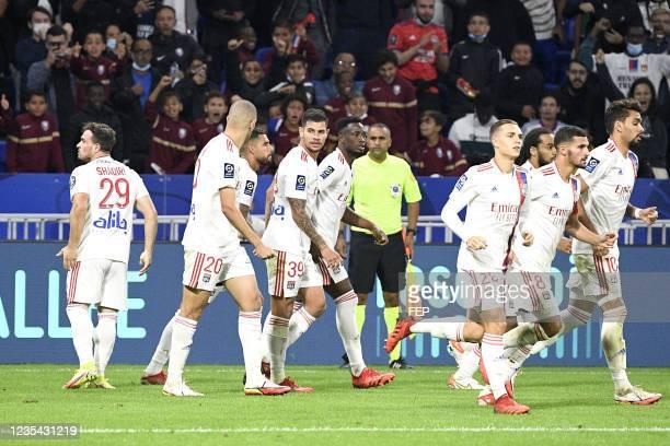 Xherdan SHAQIRI - 39 Bruno GUIMARAES - 02 Sinaly DIOMANDE - 25 Maxence CAQUERET - 08 Houssem AOUAR - 10 Lucas PAQUETA during the Ligue 1 Uber Eats...