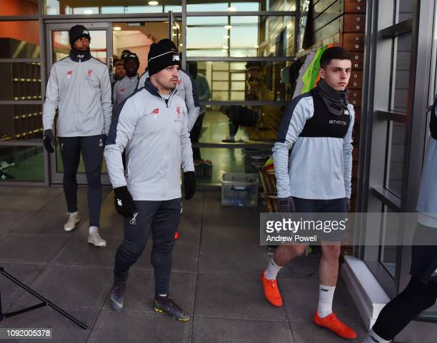 Xherdan Shaqiri and Adam Lewis of Liverpool during a training session at Melwood Training Ground on February 1 2019 in Liverpool England