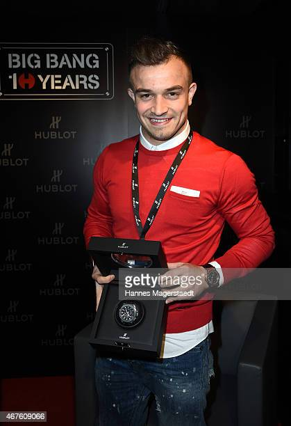 Xherdan Shaqiri attends a Hublot press conference to mark the 10th Anniversary of the iconic Big Bang Collection at the Baselworld 2015 on March 23...