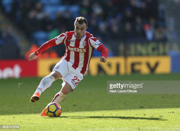 Xherdan Shaqiri during the Premier League match between Leicester City and Stoke City at The King Power Stadium on February 24 2018 in Leicester...