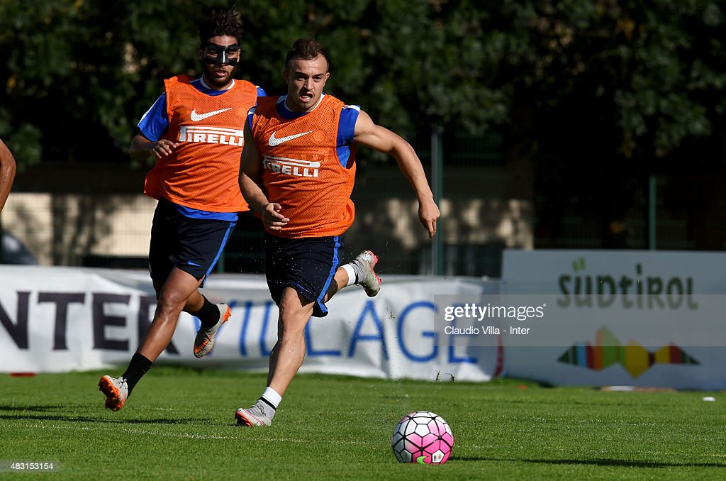 Xherdan Shaqiri in action during a FC Internazionale training session on August 6, 2015 in Bruneck, Italy.
