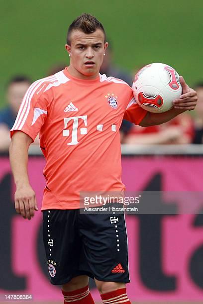 Xherdan Shaqiri of Bayern Muenchen during a training session at Bayern`s trainings ground Saebener strasse on July 3 2012 in Munich Germany
