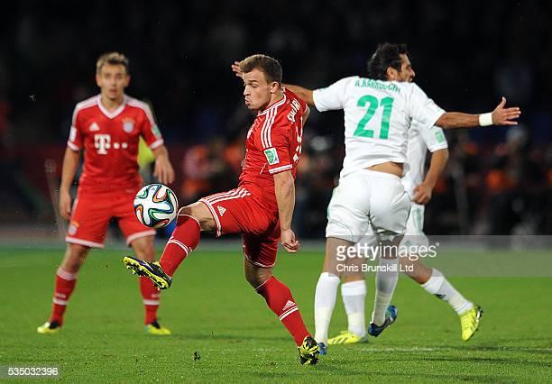Xherdan Shaqiri of Bayern Munich in action with Adil Karrouchy of Raja Casablanca