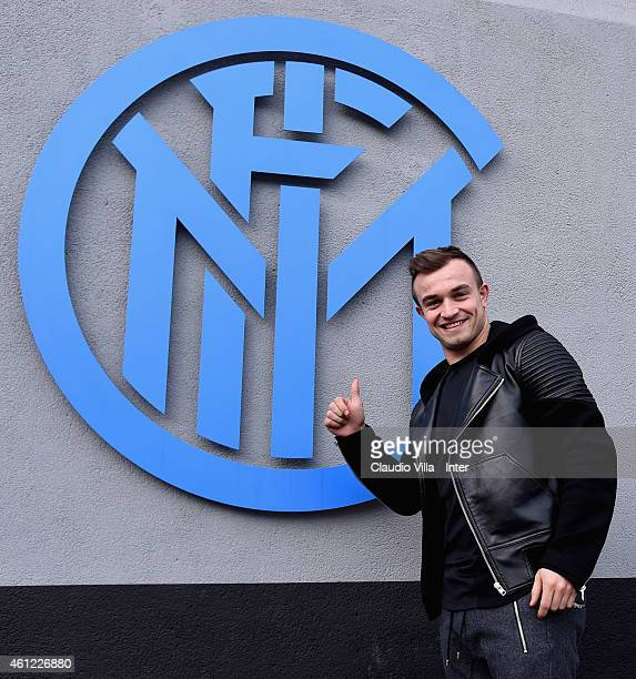 Xherdan Shaqiri of FC Internazionale arrives at Appiano Gentile on January 9 2015 in Como Italy
