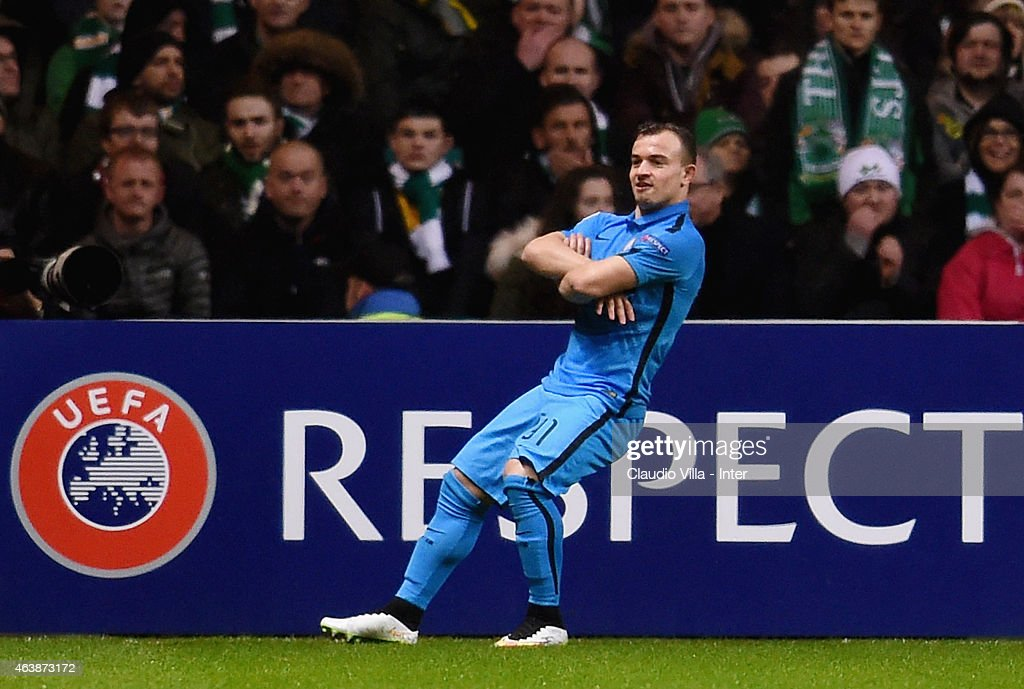 Xherdan Shaqiri of FC Internazionale celebrates after scoring the first goal during the UEFA Europa League Round of 32 match between Celtic FC and FC Internazionale Milano at Celtic Park on February 19, 2015 in Glasgow, United Kingdom.