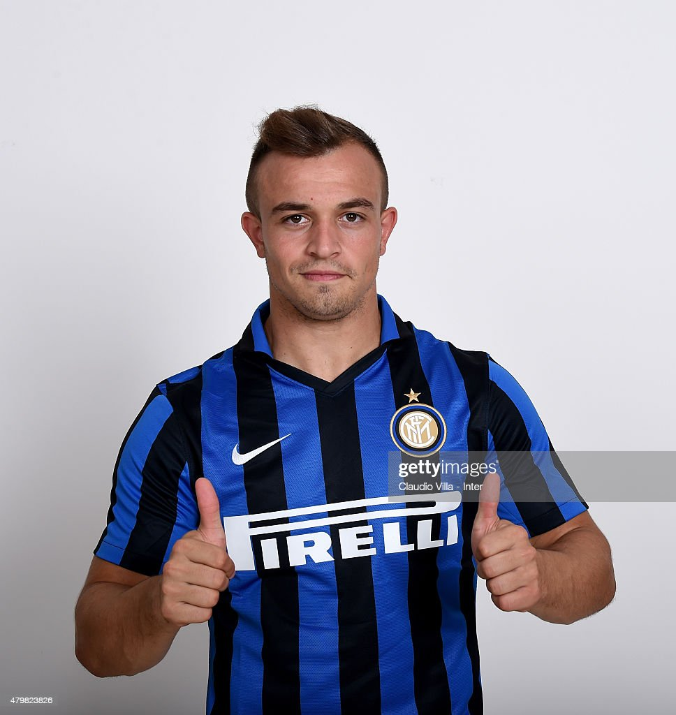 Xherdan Shaqiri of FC Internazionale poses for his Serie A 2015-2016 season official headshot at Riscone di Brunico on July 7, 2015 in Bruneck, Italy.