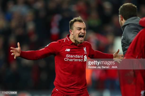 Xherdan Shaqiri of Liverpool celebrates at full time during the UEFA Champions League Semi Final second leg match between Liverpool and Barcelona at...