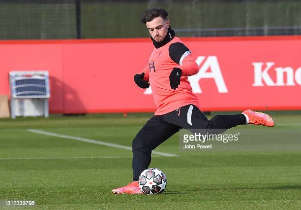 Xherdan Shaqiri of Liverpool during a training session at AXA Training Centre on April 13, 2021 in Kirkby, England.