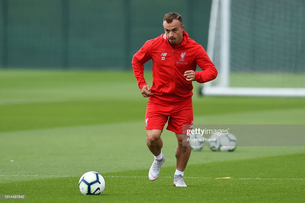 Xherdan Shaqiri of Liverpool during a training session at Melwood Training Ground on August 10, 2018 in Liverpool, England.