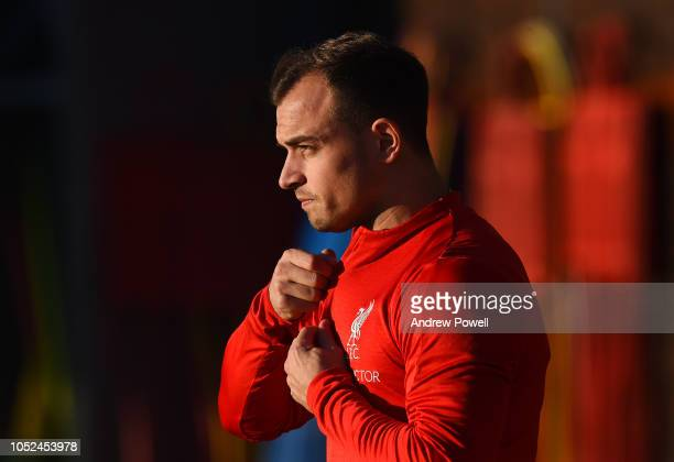 Xherdan Shaqiri of Liverpool during a training session at Melwood Training Ground on October 18 2018 in Liverpool England