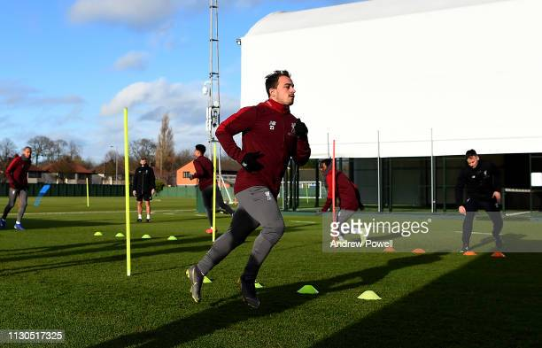 Xherdan Shaqiri of Liverpool during a training session at Melwood training ground on February 18 2019 in Liverpool England