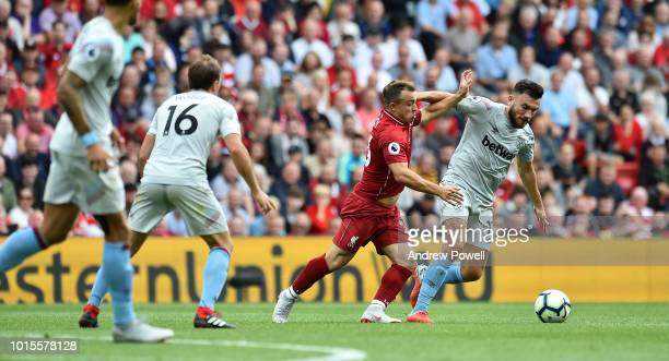 Xherdan Shaqiri of Liverpool during the Premier League match between Liverpool FC and West Ham United at Anfield on August 12 2018 in Liverpool...
