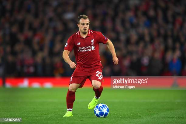 Xherdan Shaqiri of Liverpool in action during the Group C match of the UEFA Champions League between Liverpool and FK Crvena Zvezda at Anfield on...