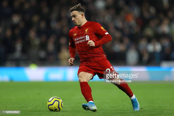 Xherdan Shaqiri of Liverpool in action during the Premier League match between Tottenham Hotspur and Liverpool FC at Tottenham Hotspur Stadium on...