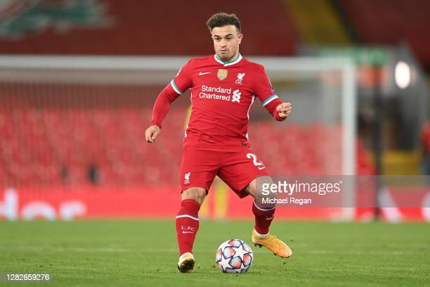 Xherdan Shaqiri of Liverpool in action during the UEFA Champions League Group D stage match between Liverpool FC and FC Midtjylland at Anfield on...