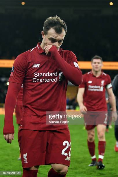 Xherdan Shaqiri of Liverpool leaves the pitch after his side lost the Emirates FA Cup Third Round match between Wolverhampton Wanderers and Liverpool...