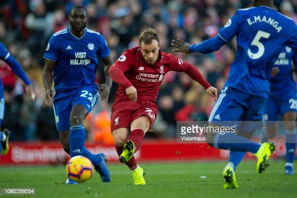 Xherdan Shaqiri of Liverpool scores during the Premier League match between Liverpool FC and Cardiff City at Anfield on October 27 2018 in Liverpool...