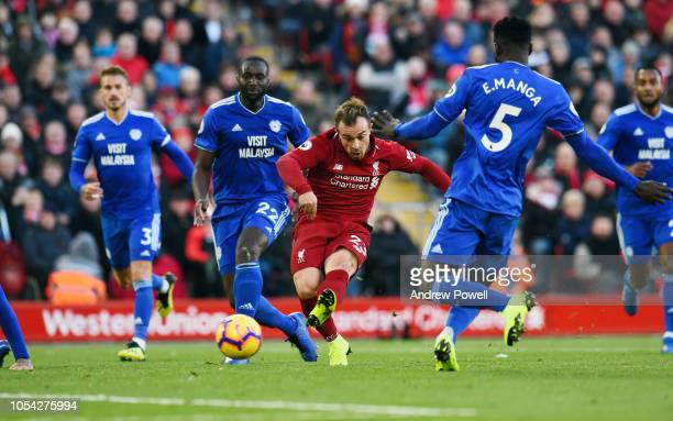 Xherdan Shaqiri of Liverpool scores the third goal during the Premier League match between Liverpool FC and Cardiff City at Anfield on October 27...
