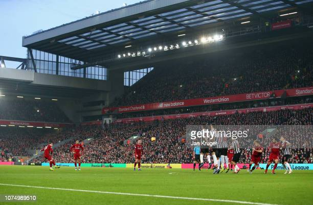 Xherdan Shaqiri of Liverpool shoots from a free kick during the Premier League match between Liverpool FC and Newcastle United at Anfield on December...