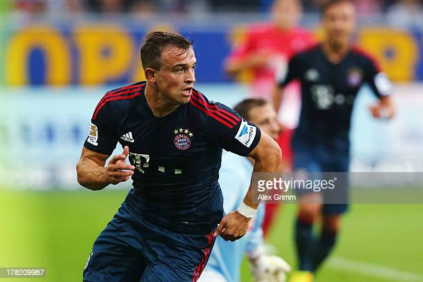 Xherdan Shaqiri of Muenchen celebrates his team's first goal during the Bundesliga match between SC Freiburg and FC Bayern Muenchen at MAGE SOLAR...