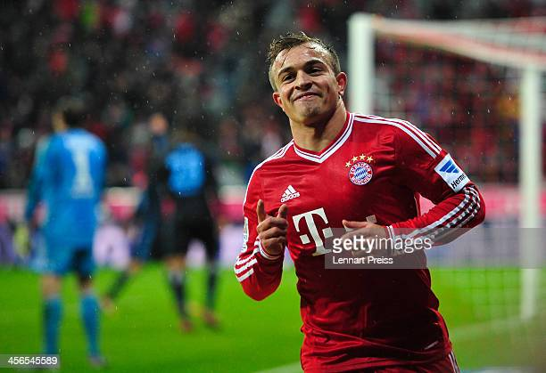 Xherdan Shaqiri of Muenchen celebrates his team's third goal during the Bundesliga match between FC Bayern Muenchen and Hamburger SV at Allianz Arena...