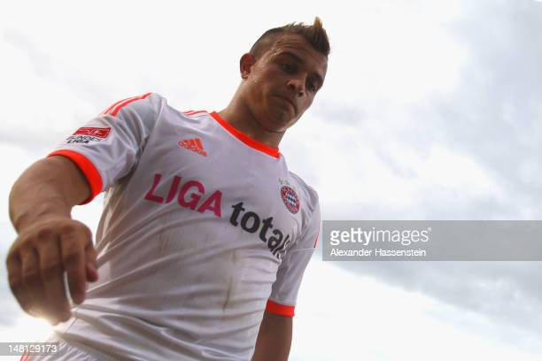 Xherdan Shaqiri of Muenchen looks on during the friendly match between SpVgg Unterhaching and FC Bayern Muenchen at Sportpark Unterhaching on July 10...
