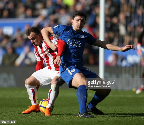 Xherdan Shaqiri of Stoke and Harry Maguire of Leicester during the Premier League match between Leicester City and Stoke City at The King Power...