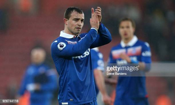 Xherdan Shaqiri of Stoke City applauds fans after the Premier League match between Southampton and Stoke City at St Mary's Stadium on March 3 2018 in...