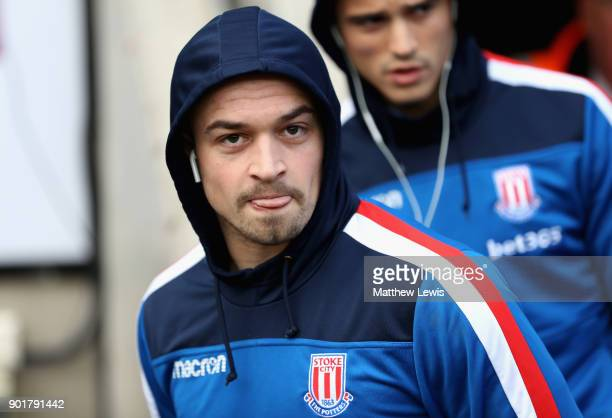 Xherdan Shaqiri of Stoke City arrives at the stadium prior to the The Emirates FA Cup Third Round match between Coventry City and Stoke City at Ricoh...