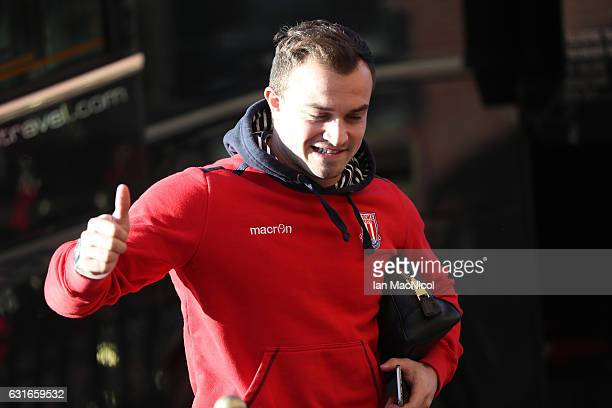 Xherdan Shaqiri of Stoke City arrives prior to the Premier League match between Sunderland and Stoke City at Stadium of Light on January 14 2017 in...