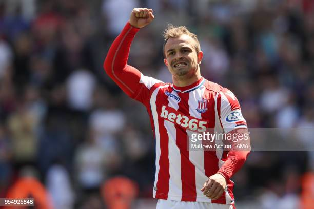 Xherdan Shaqiri of Stoke City celebrates after scoring a goal to make it 10 during the Premier League match between Stoke City and Crystal Palace at...