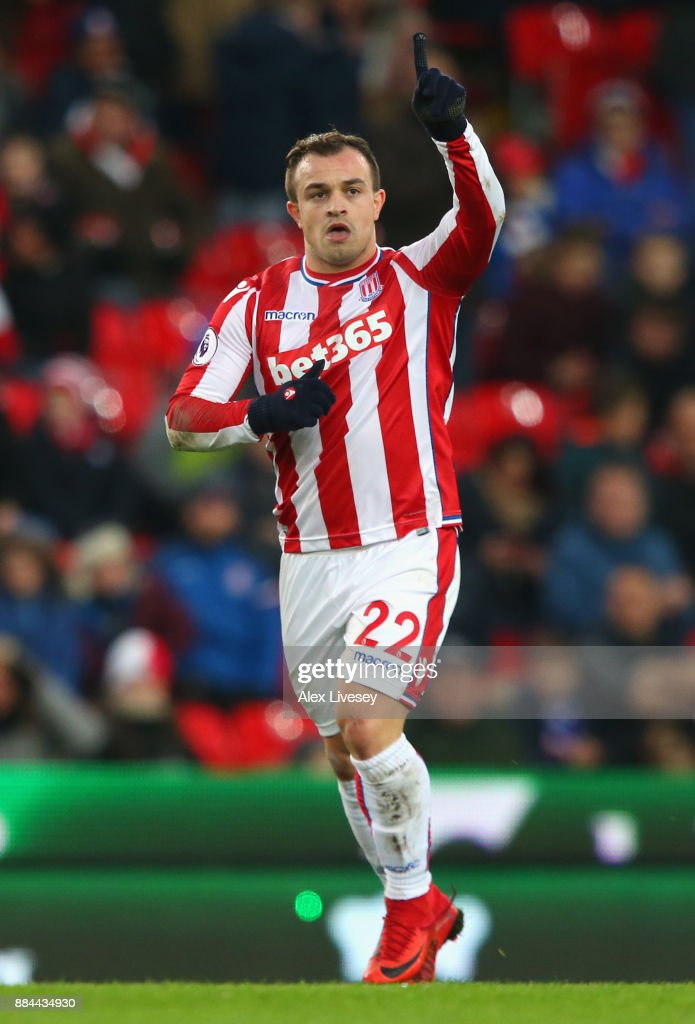 Xherdan Shaqiri of Stoke City celebrates after scoring his sides first goal during the Premier League match between Stoke City and Swansea City at Bet365 Stadium on December 2, 2017 in Stoke on Trent, England.