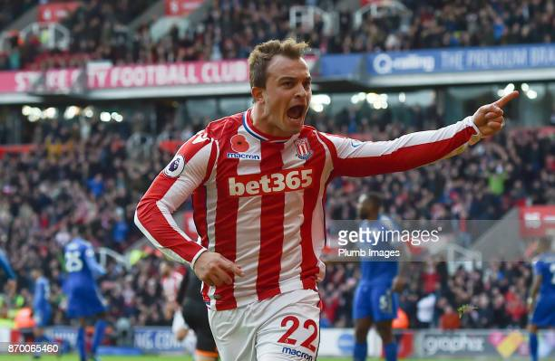 Xherdan Shaqiri of Stoke City celebrates after scoring to make the score 11 during the Premier League match between Stoke City and Leicester City at...