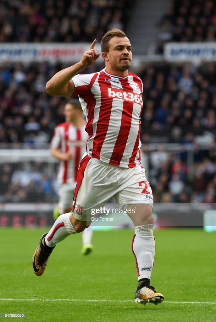 Xherdan Shaqiri of Stoke City celebrates scoring his sides first goal during the Premier League match between Newcastle United and Stoke City at St. James Park on September 16, 2017 in Newcastle upon Tyne, England.