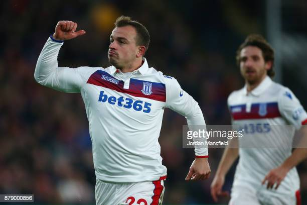 Xherdan Shaqiri of Stoke City celebrates scoring his sides first goal during the Premier League match between Crystal Palace and Stoke City at...
