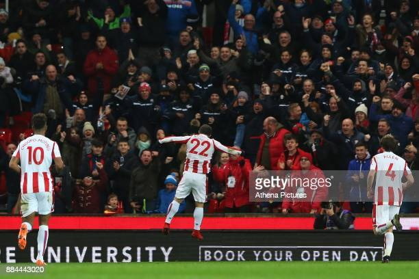 Xherdan Shaqiri of Stoke City celebrates scoring his sides first goal of the match during the Premier League match between Stoke City and Swansea...