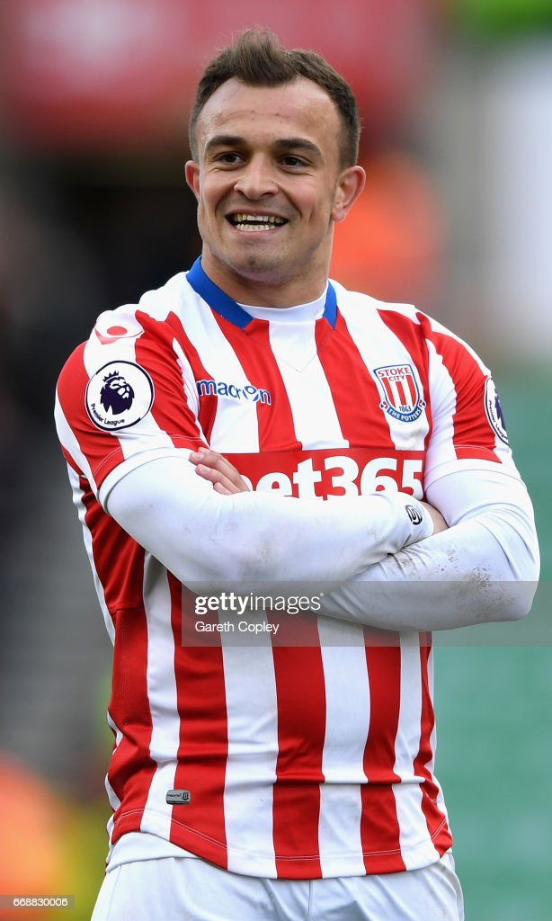 Xherdan Shaqiri of Stoke City celebrates scoring his sides third goal during the Premier League match between Stoke City and Hull City at Bet365 Stadium on April 15, 2017 in Stoke on Trent, England.